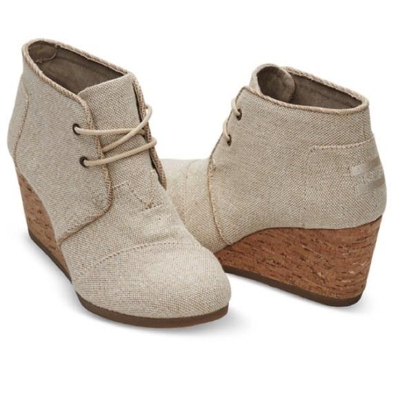 05dcdb542aac Toms Shoes - Toms Women s Desert Wedge Casual Metallic booties
